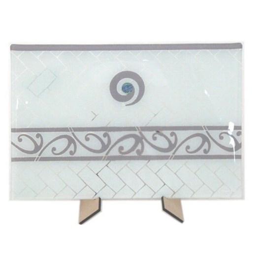 Maori Boy Paua Kete Lge Rect Platter 400x270Mm White/Grey