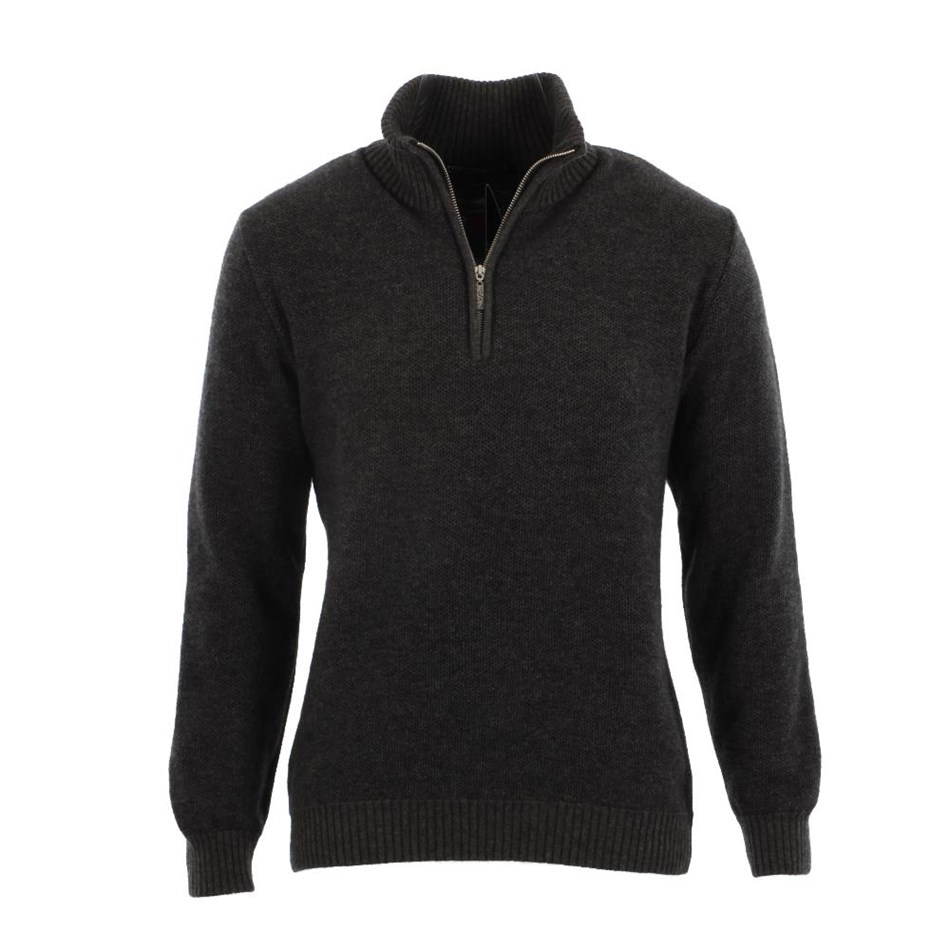 Native World Mens Textured Half Zip Sweater - otter
