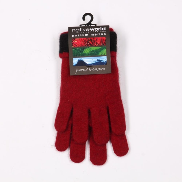 Native World Two Tone Gloves - 6519 - berry
