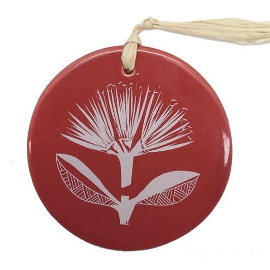Jo Luping White Pohutukawa On Red Tile 8cm