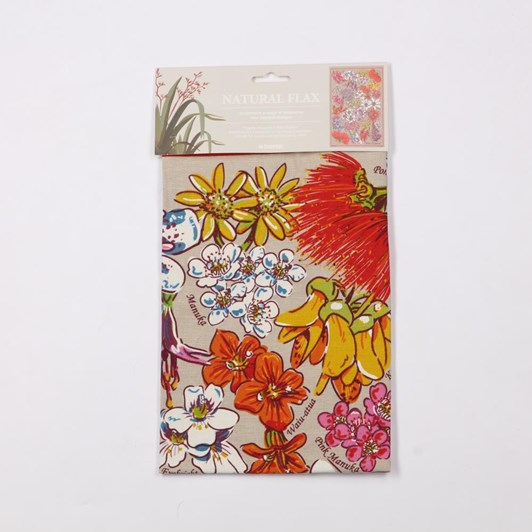 Natural Flax Flowers Tea Towel