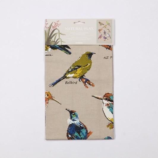 Natural Flax Birds On NZ Tea Towel