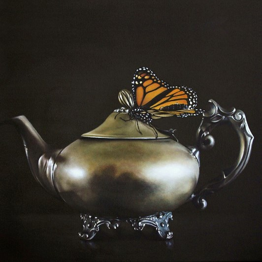 Teapot And Monarch Box Frame Black 26x26cm