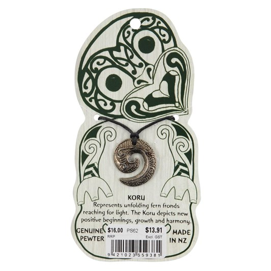 Kia Ora Pewter Corded Necklace Koru