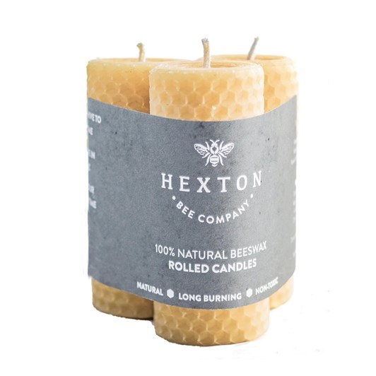 Hexton Bee Company Beeswax Rolled Candle Set Of 3 35x105mm