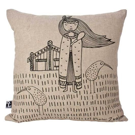 Karen Design NZ Kiwi Girl Cushion Cover