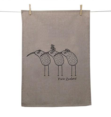 Karen Design NZ Kiwis Tea Towel