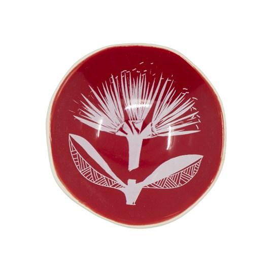 Jo Luping White Pohutukawa Lace On Red Bowl 7cm