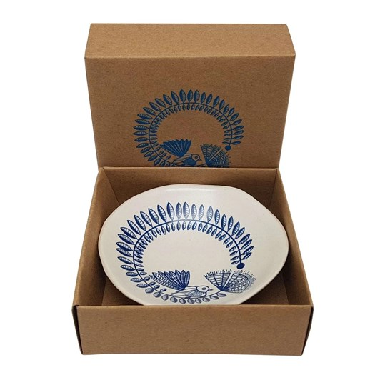 Jo Luping Blue Fantail & Pohutukawa On White Bowl 7cm