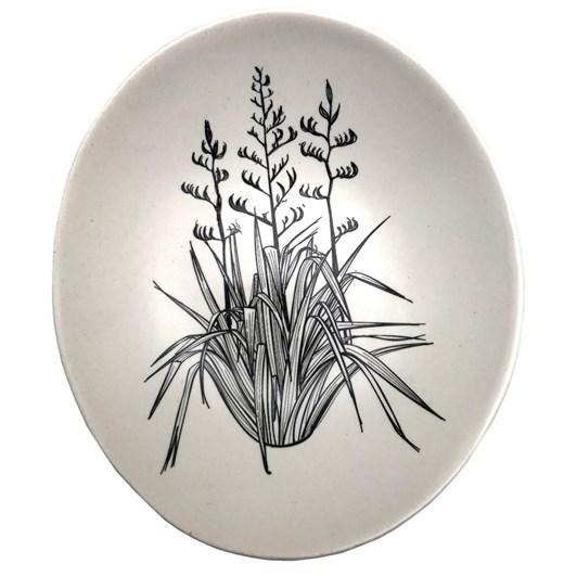 Jo Luping Black Harakeke On White Bowl 10cm