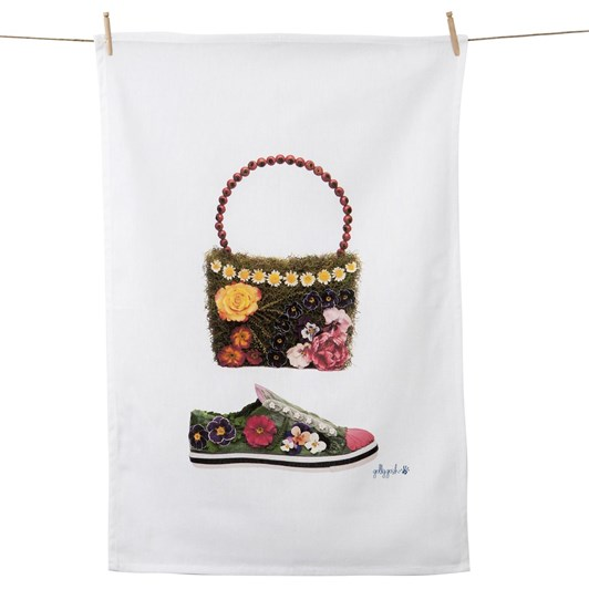 Golly Gosh Daisy Chain And Pansy Shoe Tea Towel