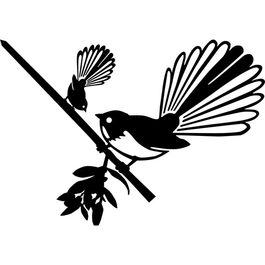 Metalbird NZ Piwakawaka/Fantail & Chick
