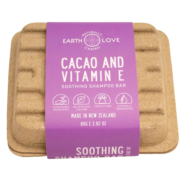 Earth Love Cacao & Vitamin E Soothing Shampoo Bar 80g - na