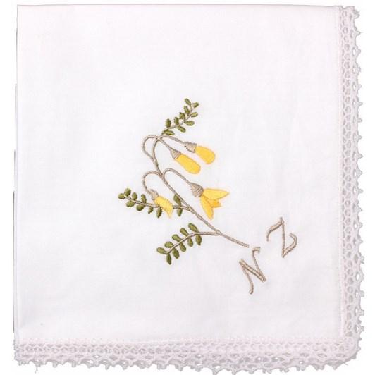 Kowhai Embroidered Hankie