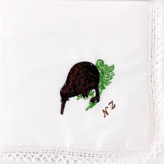 Kiwi Embroidered Hankie