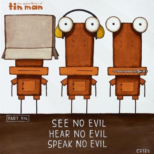 Tin Man See No Evil Box Black Frame 30x30cm