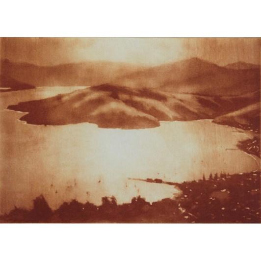 Philip Beadle Winter Light, Akaroa Etching Framed 44x52cm