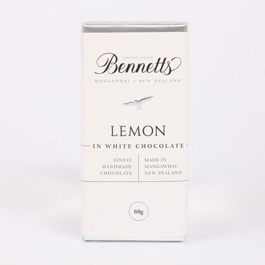 Bennetts of Mangawhai Lemon White Chocolate Bar 60g