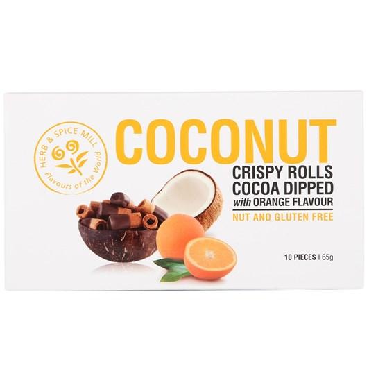 Herb & Spice Mill Coconut Crispy Rolls - Orange Choc Dip 65g
