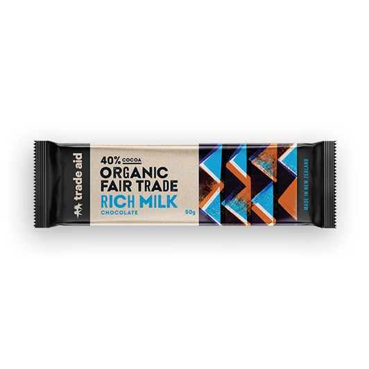 Trade Aid Organic 40% Rich Milk Chocolate 50g