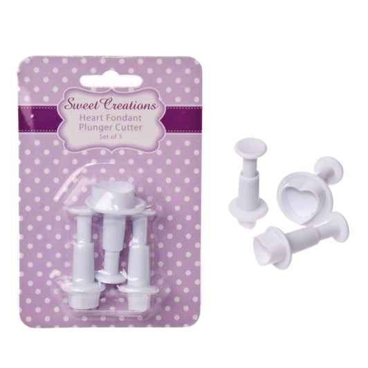 Sweet Creations Heart Fondant Plunger Cutter Set 3