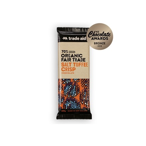 Trade Aid Organic 70% Salt Toffee Crisp Chocolate