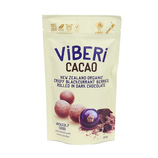 Viberi  Cacao Organic Blackcurrents Rolled in Chocolate 90g
