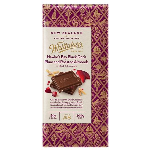 Whittaker's Black Doris Plum & Roasted Almonds In Dark Chocolate 100g