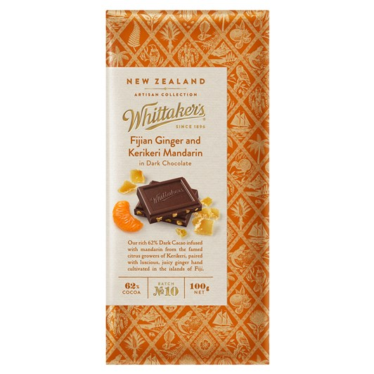 Whittaker's Ginger And Mandarin In Dark Chocolate 100g