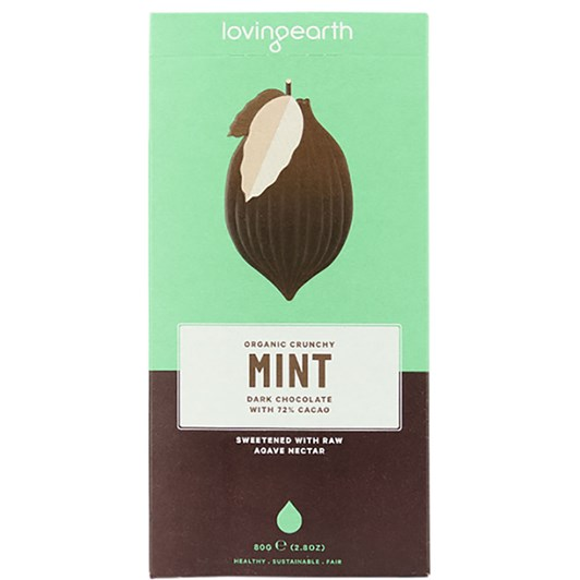Loving Earth Crunchy Mint Dark Chocolate 80g