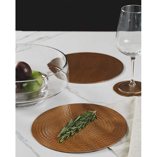Just Slate Flat Hammered Copper Placemats Set Of Two 23cm