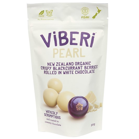 Viberi Pearl White Chocolate Rolled Crispy Blackcurrants 90g
