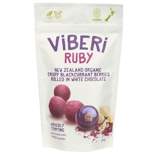 Viberi Ruby White Chocolate Rolled Crispy Blackcurrants 90g