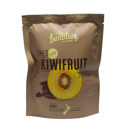 Little Beauties Dried Gold Kiwifruit Slices With Dark Chocolate 60g