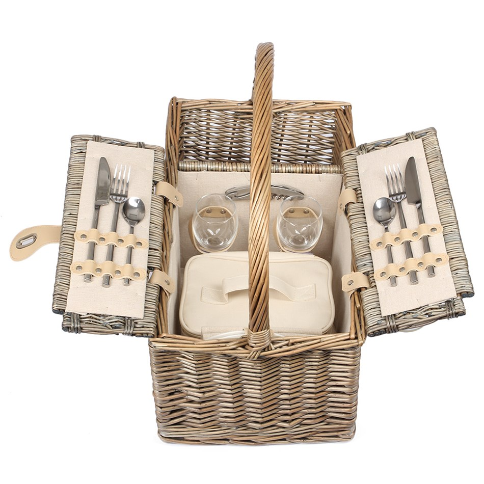 Willow Direct Antique Wash Lidded 2 Person Hamper -