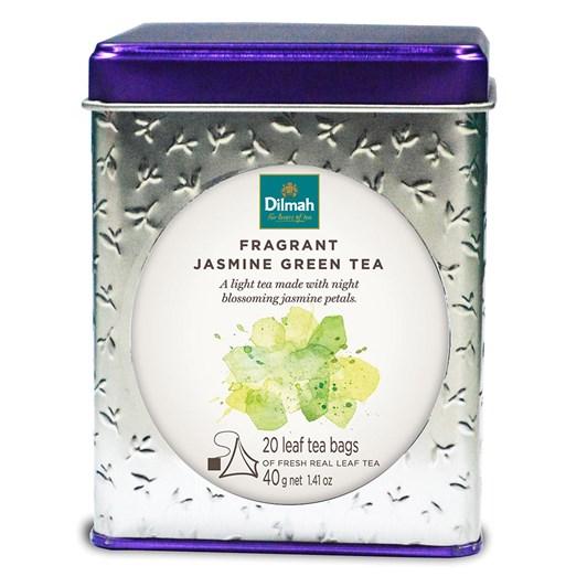 Dilmah Vivid Tin Caddy Square Jasmine Green Tea