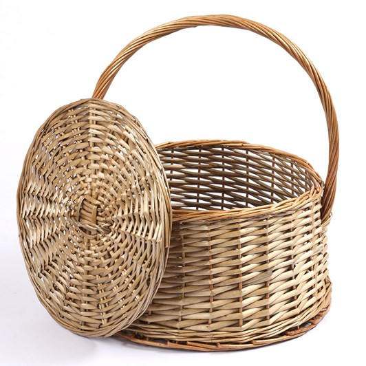 Round Willow Basket with Lid 38x22x42cm