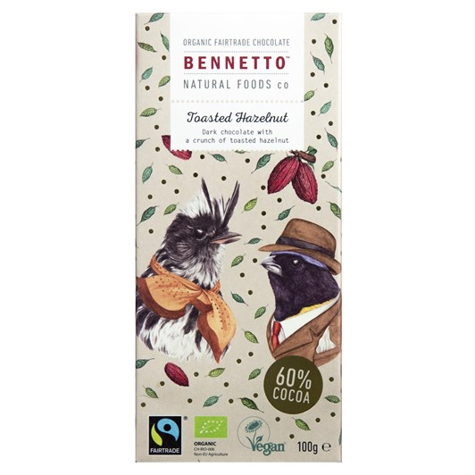 Bennetto Dark Chocolate with Toasted Hazelnuts 100g