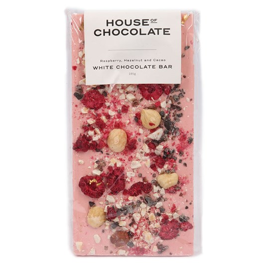 House of Chocolate Raspberry, Hazelnut & Cacao Chocolate Bar 105g