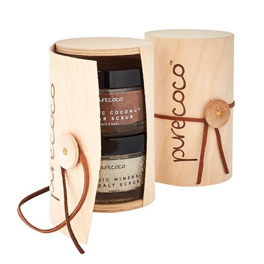 Purecoco Organic Coconut Sugar And Salt Scrub Box Set 400g