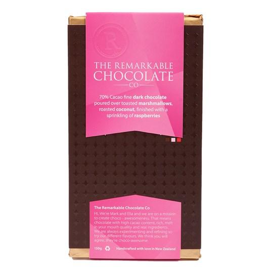 The Remarkable Chocolate Co Dark Bar 70% Marshmallow Coconut Raspberry 150g