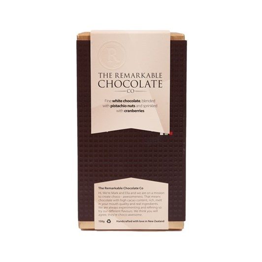 The Remarkable Chocolate Co White 28% Pistashio And Cranberry 150g