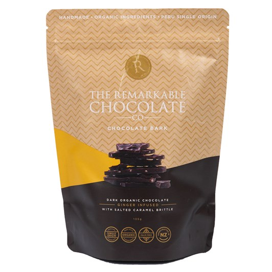 The Remarkable Chocolate Co Organic Bark Ginger And Caramel  135g