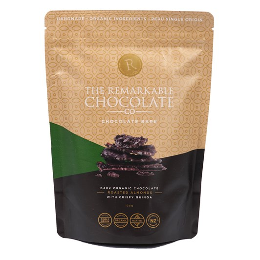 The Remarkable Chocoalte Co Organic Bark Almonds And Quinoa 135g