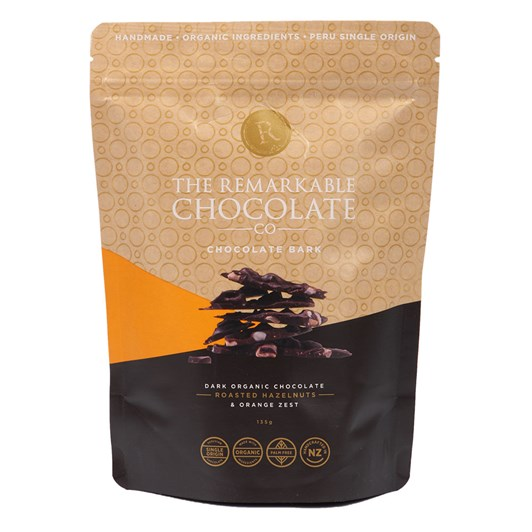 The Remarkable Chocolate Co Organic Bark Hazelnuts And Orange 135g