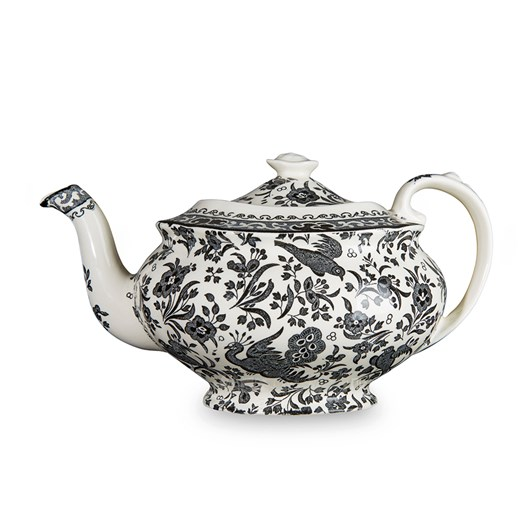 Burleigh Black Regal Peacock Teapot Large, 1.2L