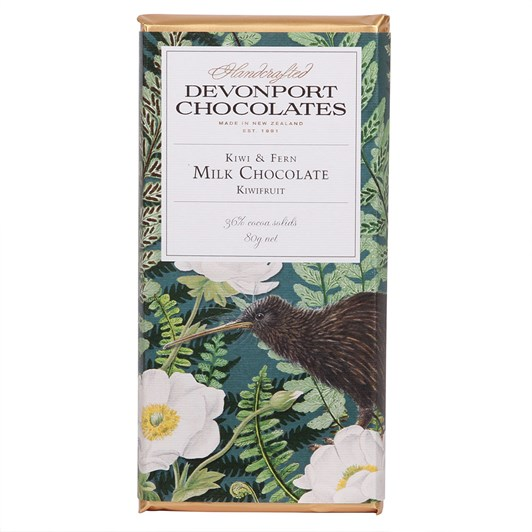 Devonport Chocolates Kiwi & Fern Milk Chocolate With Kiwifruit 80g