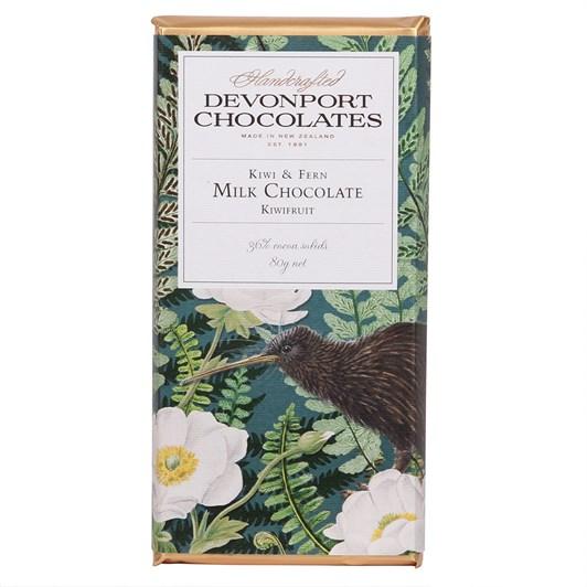 Devonport Chocolates Kiwi & Fern Milk Chocolate With Kiwifruit 80g