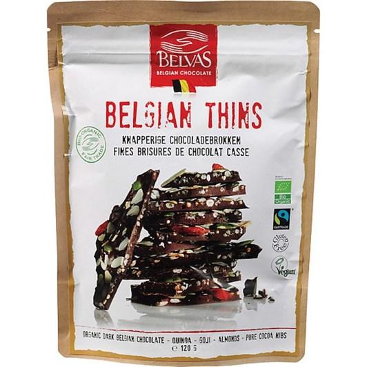 Belvas Thins Dark With Berries 120g