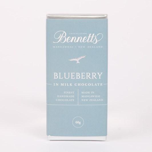 Bennetts Of Mangawhai Blueberry Milk Chocolate Bar 60g